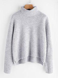 Shop Marled Knit Stepped Hem Jumper online. SheIn offers Marled Knit Stepped Hem Jumper & more to fit your fashionable needs.