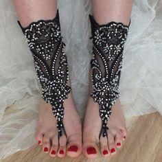 SANDALS // Black beach shoes, gothic bridal sandals, lariat sandals, wedding bridal, bellydance, gothic, wedding shoes, summer wear,