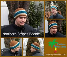 Crochet this colorfully striped beanie in your guy's (or gal's) favorite colors for a hat they'll absolutely love.  We recommend our Heartland yarn.