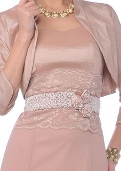 Entrancing Lace-Jewel-Flower Accent Waistband Double Layer Mother of the bride Dress Mother of the groom dress