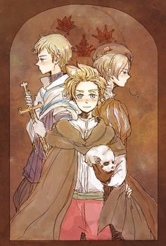 Hetalia (ヘタリア) - Denmark, Sweden, Norway. Artist unknown. If you are the artist or know the artist please let me know so I can credit properly or take this art down from my board if you wish.