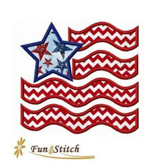 American flag applique machine embroidery July 4th design