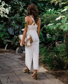Walks on the wild side with the Alice Eyelet Jumpsuit Photo via Jumpsuit Outfit, White Jumpsuit, White Dress, Petite Fashion, Boho Fashion, Bridal Fashion, Glamorous Evening Gowns, Dressed To The Nines, Shades Of White