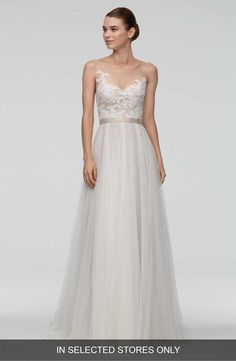 found at HAPPY BRAUTMODEN bridal gown wedding dress classy elegant romantic Watters Willow by Wtoo flowing skirt lace Used Wedding Dresses, Perfect Wedding Dress, Wedding Suits, Bridal Dresses, Wedding Bride, Wedding Gowns, Lace Wedding, Trendy Wedding, Vestidos Marchesa