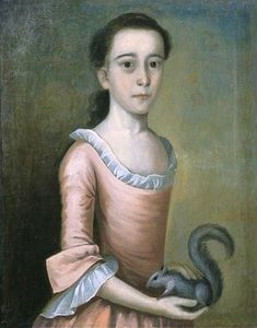 1757 Joseph Badger (American artist, 1708-1765). Rebecca Orne (later Mrs. Joseph Cabot).  American Women: Squirrels in paintings of 18C American women + a couple of boys...