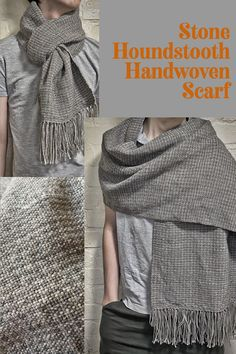 "A subtle houndstooth scarf in shades of stone grey. This scarf measures 39 cm x 175 cm (15"" x 69"") not including the fringe - a luxurious size suitable for all kinds of styling.This scarf is woven from a mix of Falklands Wool and British Alpaca, making it warm, durable and luxurious. Houndstooth Scarf, Rug Inspiration, Woven Scarves, Grey Stone, Hand Weaving, British, Shades, Warm, Rugs"