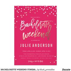 BACHELORETTE WEEKEND ITINERARY // PINK invitation