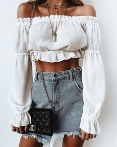 Distressed denim skirt.