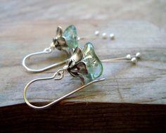 Winter Blossoms Earrings Silver Aqua Flower by FuchsiaBloomStudio