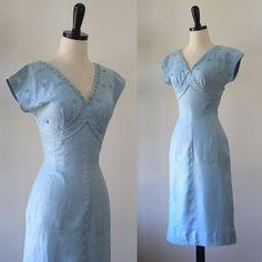 Vintage 1950s Dress 1950s Cocktail Dress by SassySisterVintage