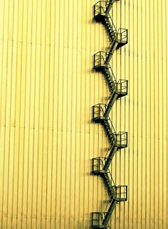 yellow wall and fire escape stairs Detail Architecture, Stairs Architecture, Interior Architecture, Interior Design, Minimal Photography, Abstract Photography, Industrial Photography, Urban Photography, Color Photography