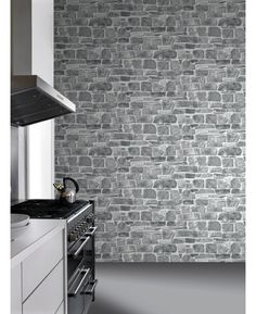This fantastically realistic stone wall wallpaper features a rustic brick wall . This fantastically realistic stone wall wallpaper features a rustic brick wall . Go Wallpaper, Kitchen Wallpaper, Textured Wallpaper, Grey Stone Wallpaper, Feature Wallpaper Living Room, Feature Wall Living Room, Stone Wall Living Room, Living Room Grey, Brick And Stone