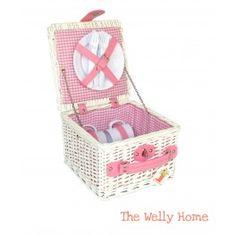 Cesta de picnic de 2 servicios rosa de cuadros vichy de The Welly Home