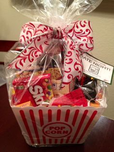 1000 images about movie night gift baskets on pinterest for Homemade christmas gift baskets for couples