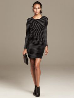 Banana Republic | Multi-Stripe Shirred Knit Dress