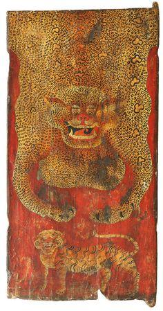 """Tibetan painted doors depicting symbols of Tibetan mythology. The Tibetans believed that tigers held the key to immortality, embodying power and a balanced mind. Tibetan Art, Tibetan Buddhism, Korean Painting, Mandala, Tiger Art, Buddhist Art, Japanese Prints, Sacred Art, Graphic Design Typography"