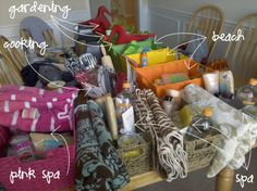 budget gift baskets - these aren't super cheap, but they come together for less than you might spend on a single gift and are way more fun! The suggestions for the cooking and beach themes could suit a wide range of recipients, and the spa set would be a treat to get :)