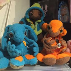 My trio of plushbabies! Blue Chocolate, Orange Brown, Suncatchers, Plushies, Monkey, Dinosaur Stuffed Animal, Bunny, Toys, Heart