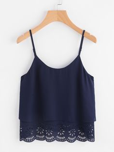 SheIn offers Scallop Laser Cut Layered Cami Top & more to fit your fashionable needs. Girls Fashion Clothes, Teen Fashion Outfits, Cute Comfy Outfits, Pretty Outfits, Mode Top, Cute Crop Tops, Tank Tops, Layering Outfits, Crop Top Outfits
