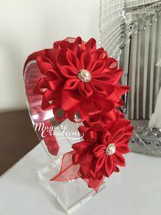Diadema roja kanzashi diademas accesorios del por MagaroCreations
