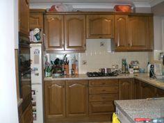 before - heavy old fashioned oak kitchen cabinet doors