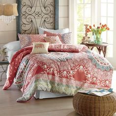 Exotic medallion printed comforter and coordinating decorative Pillows will make a bold statement. Amrita Medallion Comforter Set from Country Door.