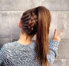 coiffure avec tresse et queue de cheval pour l'école, coiffure ado fille facile
