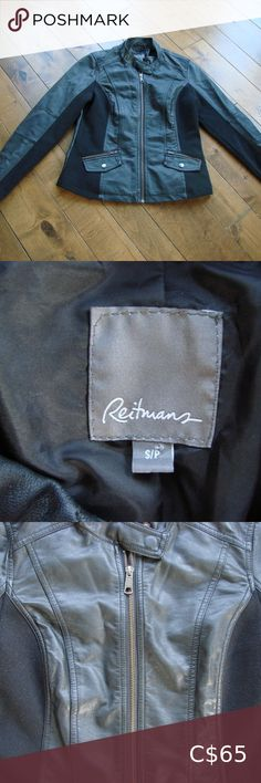 """Reitmans Black Faux Rib Side Leather Moto Jacket Reitmans Black Faux Ribbed Side Leather Moto Jacket ~ Size Small ~ 63% Polyurethane, 37% Rayon ~ Armpit to armpit 18"""" ~ Length 24"""" This is a very comfy faux leather jacket that has some ribbed material in the sides and arms. It features a zippered front, 2 zippered pockets, and a snapped closure at the neckline. If you like the look of a moto jacket without all of the studs, this jacket is for you!!! Excellent condition ~ no rips, tears, holes…"""