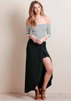 the perfect summer off-the shoulder top: dress it up with a maxi for a girls night or pair with high-waisted shorts for a day trip. Striped Crop Top, Looking Stunning, Girls Night Out, High Waisted Shorts, Cali, Besties, Off The Shoulder, Going Out, Women's Fashion