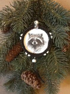 Cute Raccoon Snuff Lid Ornament on Etsy, $20.00