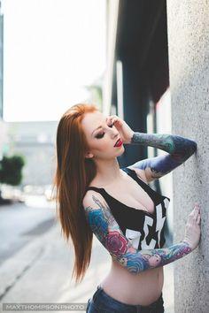 Redhead tattooed