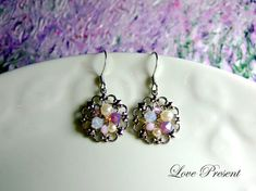 Love these Round Vintage Antique Earrings with Swarovski Crystal (Custom Made) - Color Purple Opal by Etsy artist LoLoJewelryBox