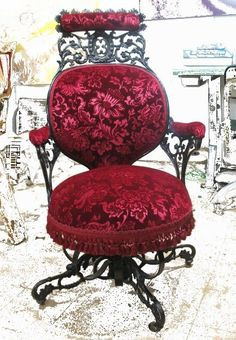gothiccharmschool:  I think my dream office would have this chair and a gorgeous antique desk with lots of drawers. And a butler to bring me tea and snacks. artofadornment:  Reupholstered Victorian Office Chair by TigerLilly Shop