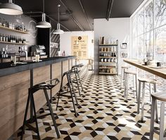 14 Floor Design with Geometric Shapes Floor Design with Geometric Shapes. 14 Floor Design with Geometric Shapes. Design Café, Floor Design, Moduleo Flooring, Luxury Bar, Coffee Shop Design, Luxury Vinyl Tile, Restaurant Interior Design, Commercial Design, Vinyl Flooring