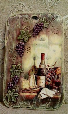 Tabla cocina Decoupage Vintage, Decoupage Wood, Tole Painting, Fabric Painting, Painting On Wood, Wine Bottle Crafts, Bottle Art, Cardboard Art, Clay Art