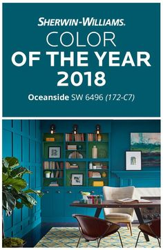 In a sea of possibilities, one color stood out. Introducing our Color of the Year 2018, Oceanside SW 6496. This mesmerizing blue shines like beach stars at dusk, bringing drama to walls, cabinets, furniture, doors, shutters and anywhere else around your home that needs a powerful pop of blue. Looking for that single statement color for 2018 and beyond? Look no further. Our Color of the Year is finally here.