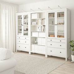 HEMNES Storage combination w doors/drawers - white stain - I.- HEMNES Storage combination w doors/drawers – white stain – IKEA - Ikea Design, Ikea Kitchen Design, Kitchen Designs, White Stain, Glass Cabinet Doors, Glass Doors, Large Drawers, Bookcase With Drawers, Bookcases