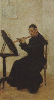Priest playing flute, Charles Edouard Edmond Delort