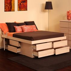 This Unfinished Birch Platform Storage Bed Features Solid Birch Drawer  Faces And Drawer Frames On White