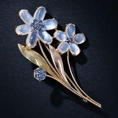 Retro Moonstone and Sapphire Flower Brooch, ca. 1940s