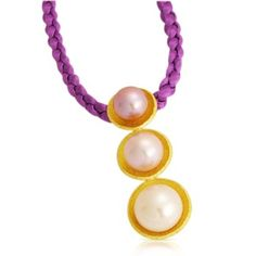 Pearl Pendant - Chinese fresh water pearls cupped in 22kt hand textured gold. Fairchild & Co
