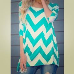 """3/4 sleeve Aqua and white chevron top Brand New. Adorable and fun chevron top. Sorry, no trades. Please only make offers through the """"make offer"""" feature. Tops Blouses"""
