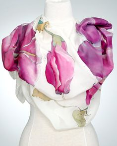 Hand Painted Silk Scarf Silk Shawl using French dyes. by SlikSilk Hand Painted Fabric, Painted Silk, Purple Hibiscus, Fabric Ornaments, Textiles, How To Dye Fabric, Dyeing Fabric, Silk Art, Silk Shawl