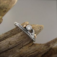 Diamond and Roses Sterling Silver Twig Engagement Ring