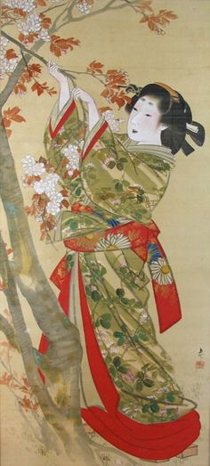 dressrehearsalrag:  Joryû, Beauty collecting blossoms (detail), ca. 1830s