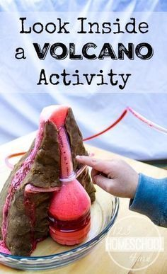 Volcano Project where you actually get to look inside a volcano eruption as it happens! This is SO COOL! Great science experiment for kids in preschool, kindergarten, 1st grade, 2nd grade, 3rd grade, 4th grade, 5th grade, and 6th grade in school,science projects, or homeschool. GREAT PICTURES!