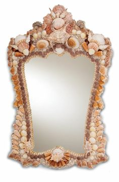 "Mirror measures 24w x 39h A practical (if such a breathtaking work of art can be called ""practical""), functional mirror in a perfect size is made special with the use of striking shell ornamentation. Material: Wood, Natural Shell"