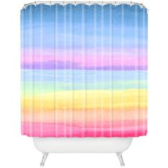 Joy Laforme rainbow ombre Shower Curtain ($89) ❤ liked on Polyvore featuring home, bed & bath, bath, shower curtains and ombre shower curtains