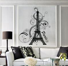 Wall Vinyl Decal Paris Eiffel Tower France Amazing by BoldArtsy