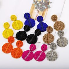 Round Circle Geometric Summer Boho Earrings 14.99 CAD Fashion Beads, Skirt Leggings, Jewelry Party, Handmade Wedding, Jewelry Organization, Statement Jewelry, Women's Earrings, Dangles, Bridal